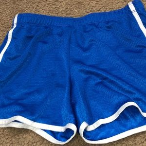 blue athletic shorts